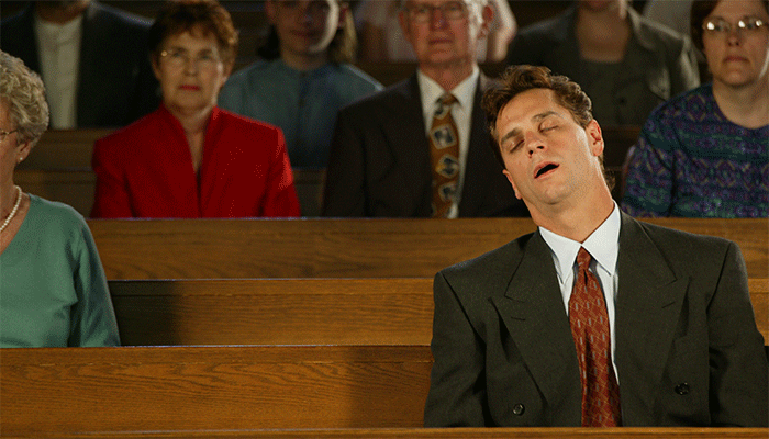 sleeping in church