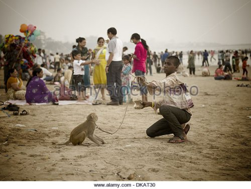 young-man-with-a-dancing-monkey-juhu-beach-mumbai-india-dkat30